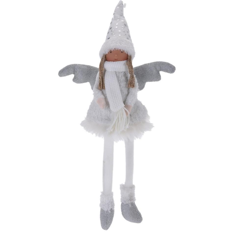 Vánoční anděl Florentina stříbrná, 46 cm