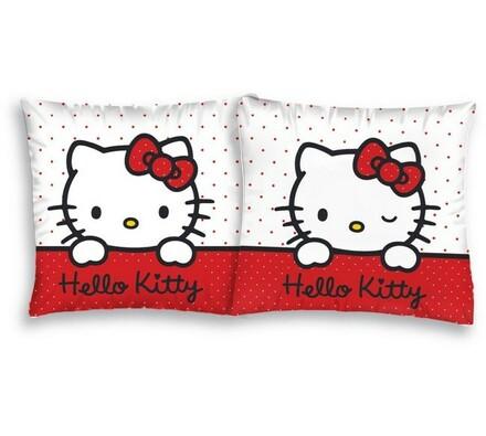 Polštářek Hello Kitty Puntík, 40 x 40 cm, bílá + červená, 40 x 40 cm