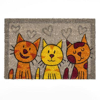 Kokosová rohožka kočky šedá, 40 x 60 cm
