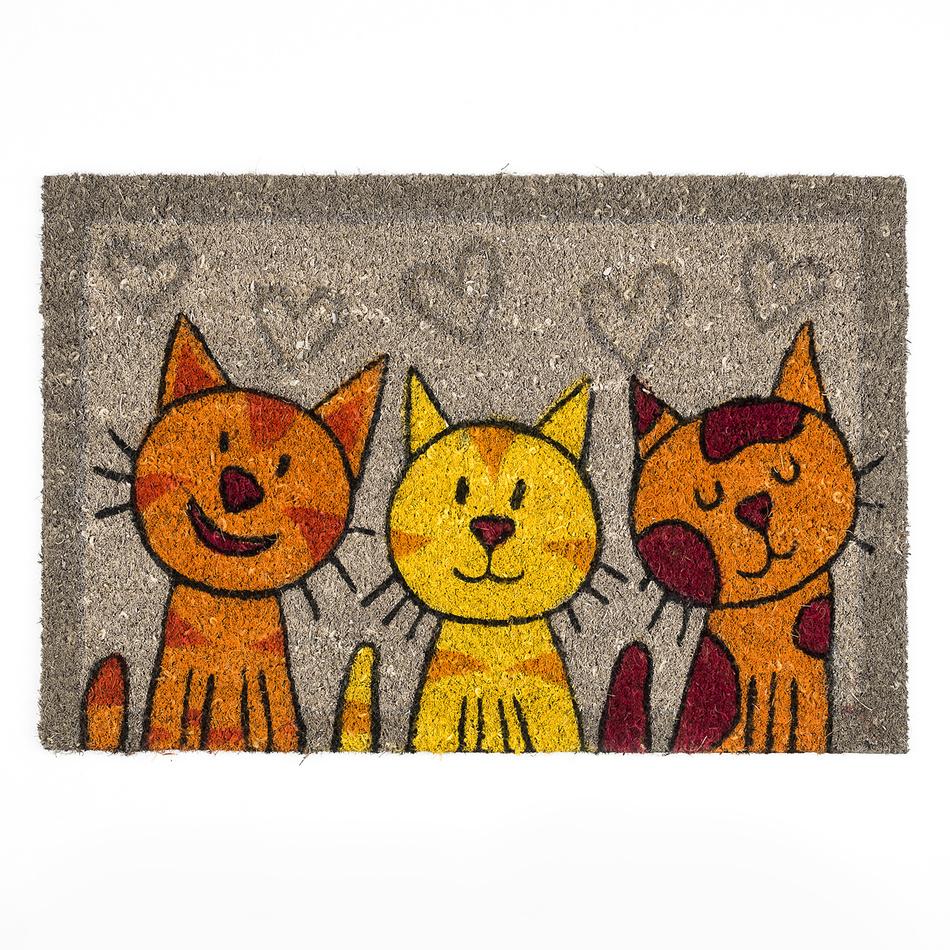BO-MA Trading Kokosová rohožka mačky šedá, 40 x 60 cm