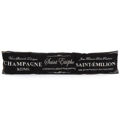 Ozdobný tesniaci vankúš do okien Champagne čierna, 90 x 20 cm