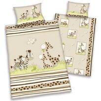 Lenjerie de pat din bumbac pentru copiii Safari, 100 x 135 cm, 40 x 60 cm