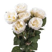 Umělá květina růže 48 cm bílá dárkové balení 6 ks