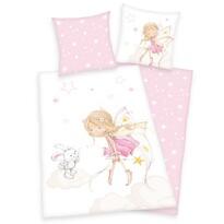 Lenjerie de pat copii, din bumbac, Zână și iepuraș, 140 x 200 cm, 70 x 90 cm
