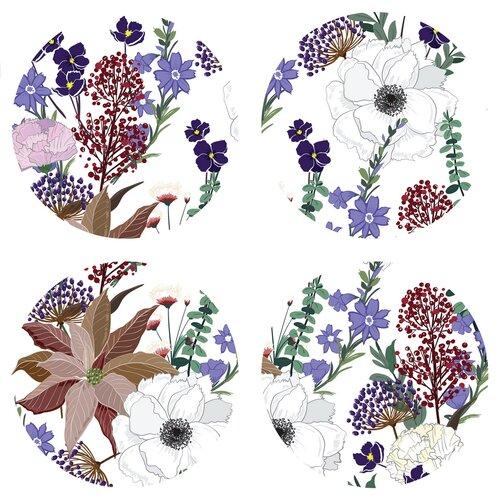 Podložka pod hrnček Flowers colour, okrúhla, pr. 10 cm, sada 4 ks