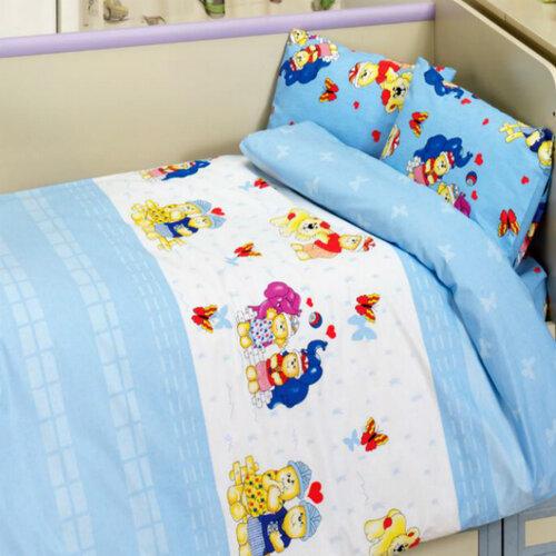 Night in Colours Dětské bavlněné povlečení medvídek modrá, 100 x 135 cm, 40 x 60 cm