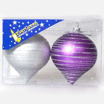 Ozdoba Cibule proužky, fialovo-stříbrná, 8 cm