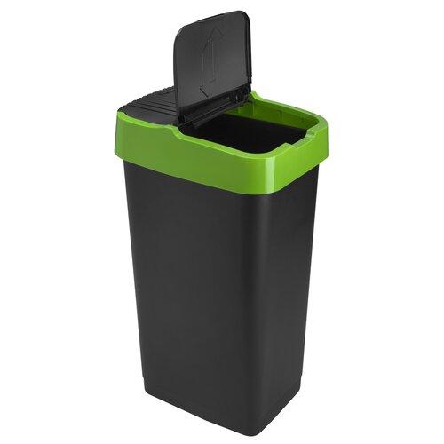 Heidrun Odpadkový koš 60 l, se zeleným pruhem