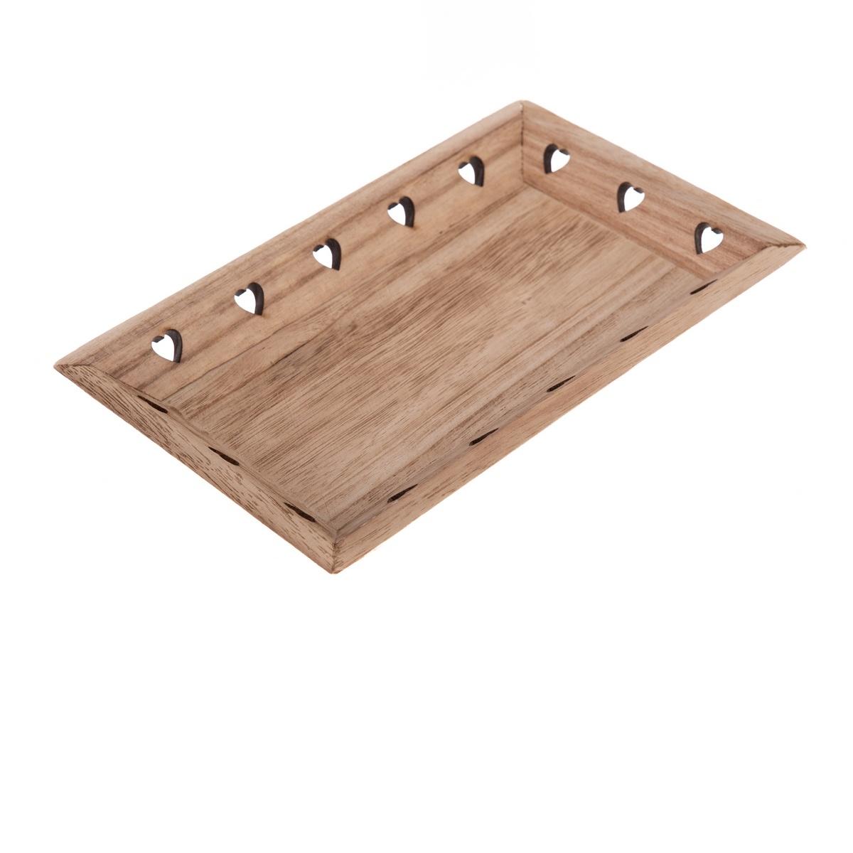Dřevěný podnos Srdíčka 33 x 19 x 3,5 cm, hnědá