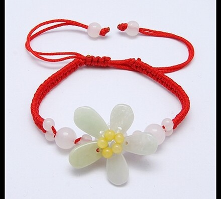 Dámský náramek s květinou, červená