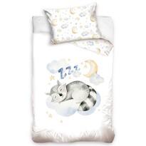 Gyermek pamut ágynemű kiságyba Alvó mosómedve, 100 x 135 cm, 40 x 60 cm