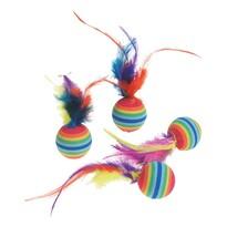 Karlie Catnip tęczowe piłeczki z piórem, śr. 3 cm
