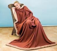 Fleecové deky s elegantní obrubou, světle hnědá