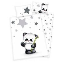 Detské flanelové obliečky do postieľky Jana Star Panda, 135 x 100 cm, 40 x 60 cm