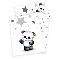 Dziecięca pościel flanelowa do łóżeczka Jana Star Panda, 135 x 100 cm, 40 x 60 cm