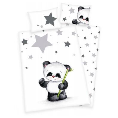 Dětské flanelové povlečení do postýlky Jana Star Panda, 135 x 100 cm, 40 x 60 cm