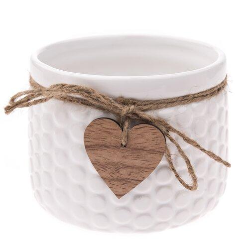 Recipient ceramic ghiveci Heart, alb, 12,5x 9,5 cm