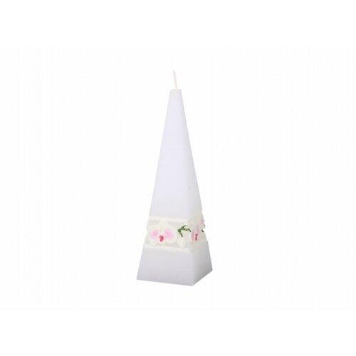 Fehér orchidea Faragott gyertya, gúla