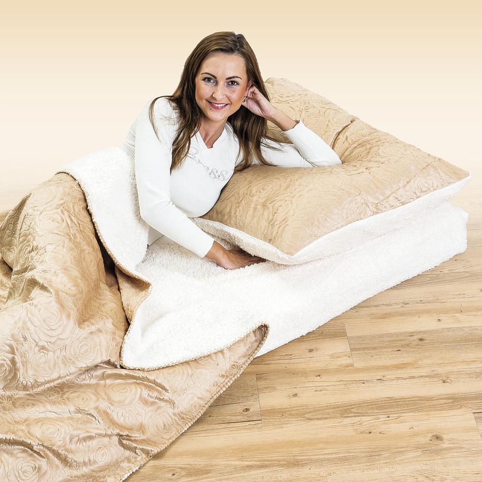 4Home baránková súprava Luxury béžová, 140 x 200 cm, 70 x 90 cm, 90 x 200 cm