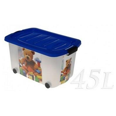Kaiserhoff MEDVÍDEK úložný box pojízdný 45l modrá