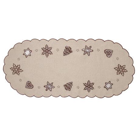 Vianočný obrus Perníčky béžová, 40 x 90 cm
