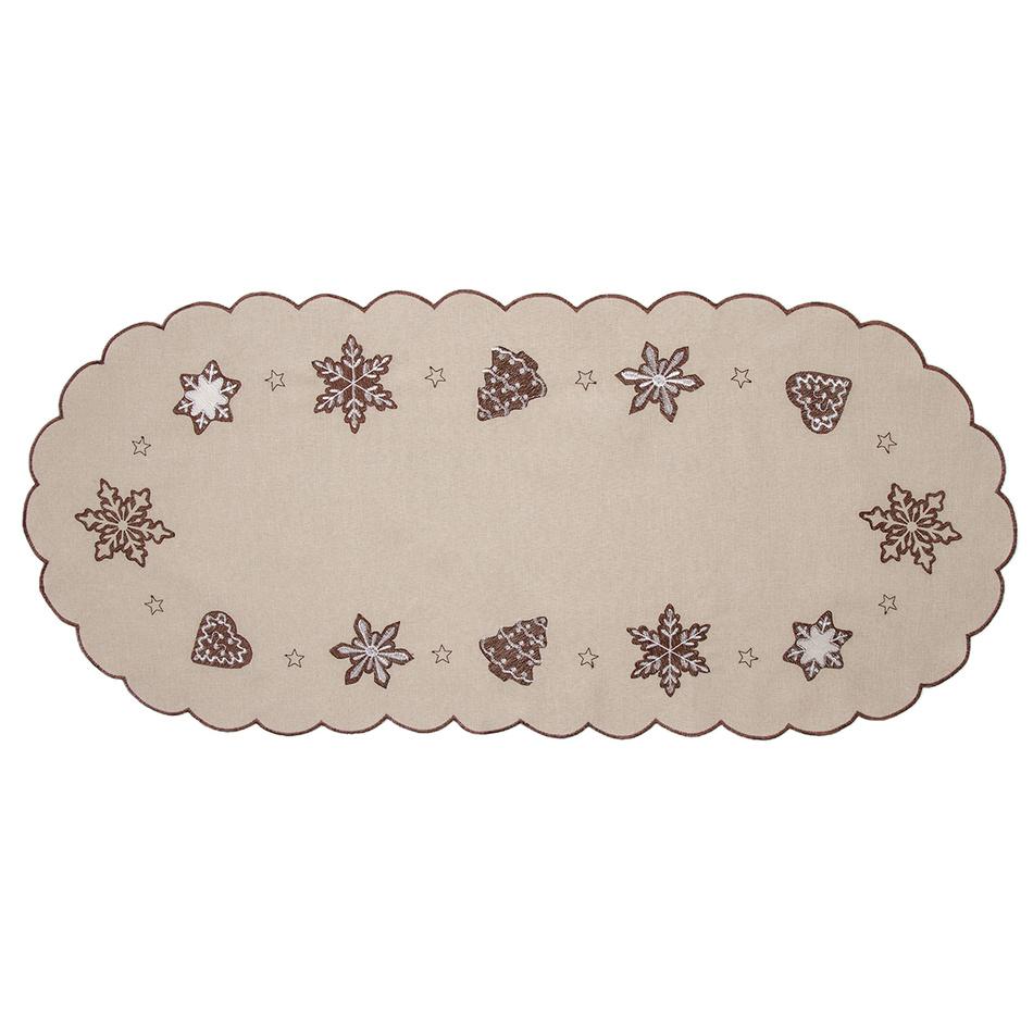 Forbyt Vánoční ubrus Perníčky béžová, 40 x 90 cm, 40 x 90 cm