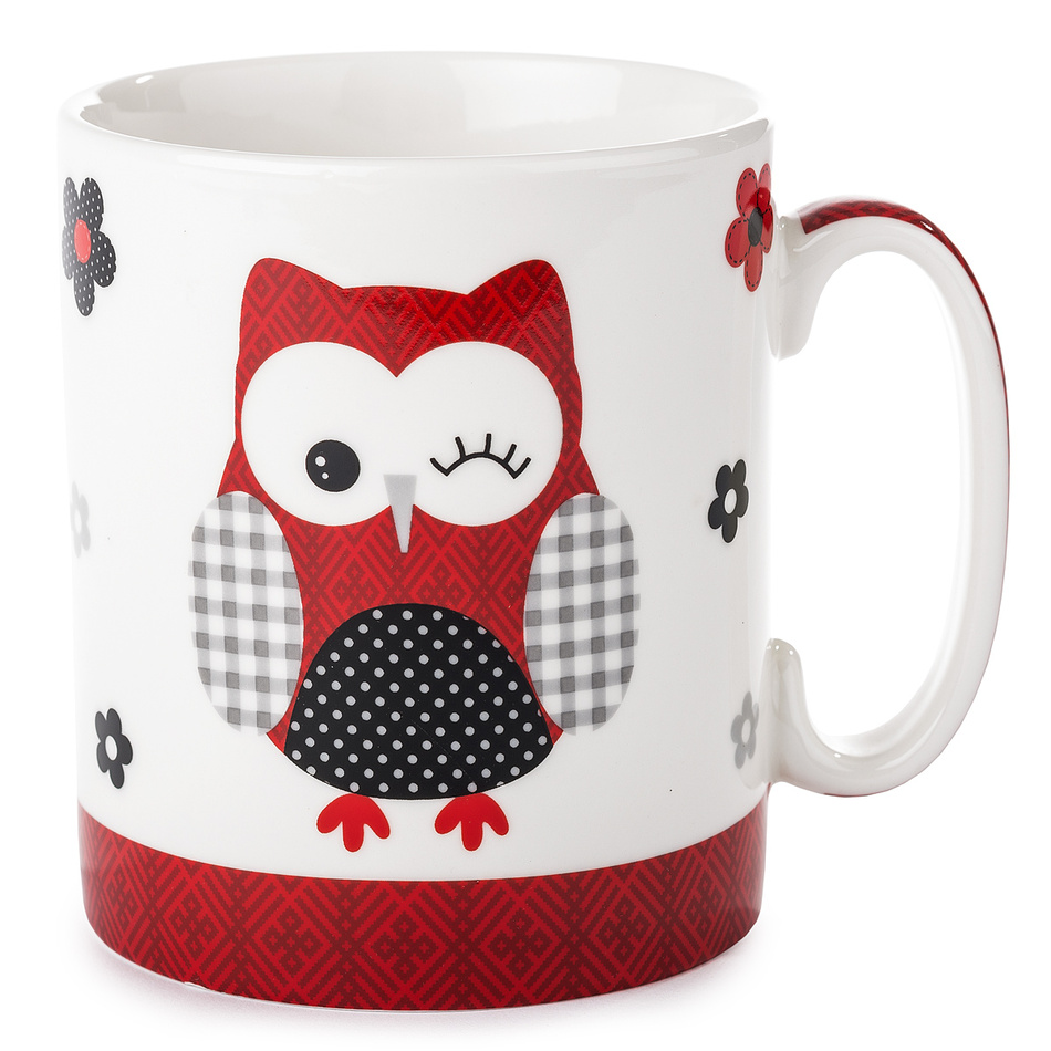 Hrnek Červená sova 750 ml, porcelán