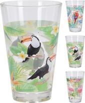 Koopman Komplet szklanek Tukan, papuga, flaming, 300 ml, 3 szt.