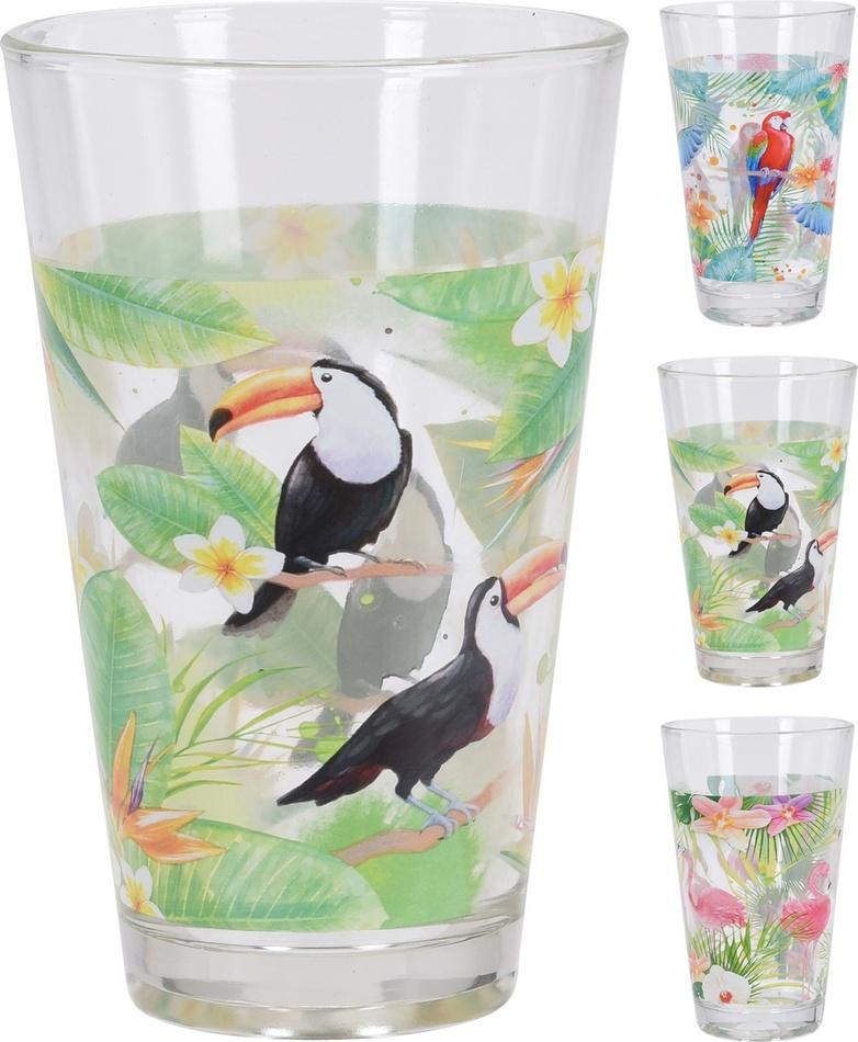Koopman Sada sklenic Tukan, papoušek, plameňák, 300 ml, 3 ks