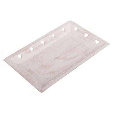 Dřevěný podnos Srdíčka 33 x 19 x 3,5 cm, bílá