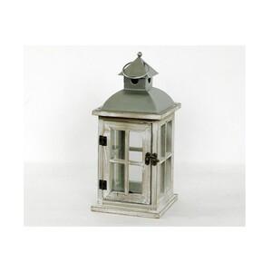 Dřevěná lucerna Église šedá, 28,5 cm