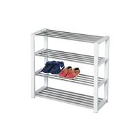 Szafka na buty 4 poziomy biały/chrom, 81 x 30 x 73 cm