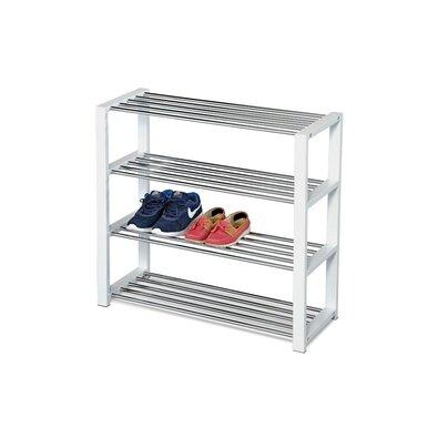 Cipőtartó, 4 szintes, fehér/króm, 81 x 30 x 73 cm