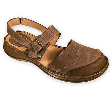 Dámská obuv s přezkou, hnědá, 41