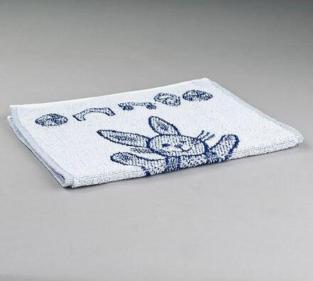 Dětský froté ručník Zajíček, modrý, 50 x 30 cm, bílá + modrá, 50 x 30 cm