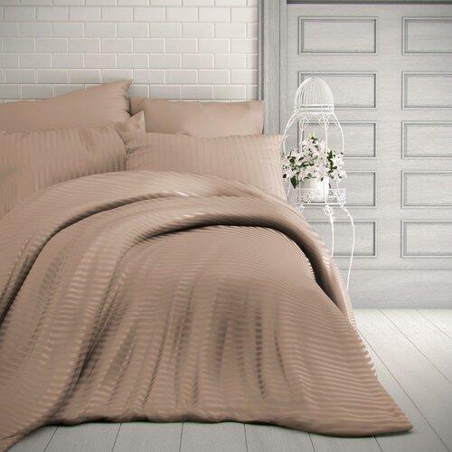 Kvalitex Saténové obliečky Stripe béžová, 140 x 220 cm, 70 x 90 cm