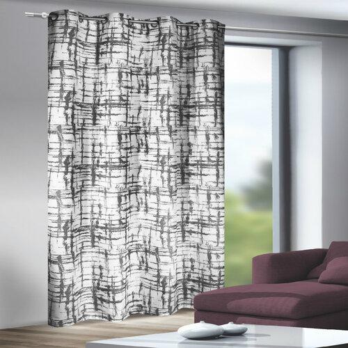 Draperie cu inele Mesut alb-negru, 135 x 245 cm