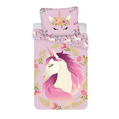 Lenjerie de pat din bumbac pentru copii Unicorn flowers, 140 x 200 cm, 70 x 90 cm