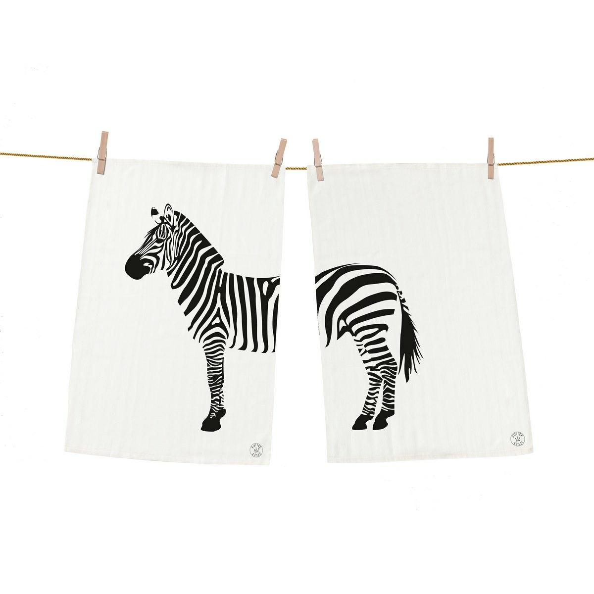 Butter Kings Kuchyňská utěrka Zebra, 50 x 70 cm, sada 2 ks