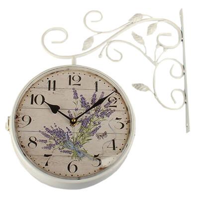 Kovové hodiny Levanduľa, biela
