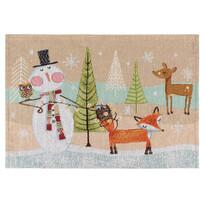 Vianočné prestieranie Zvieratká hnedá, 33 x 48 cm