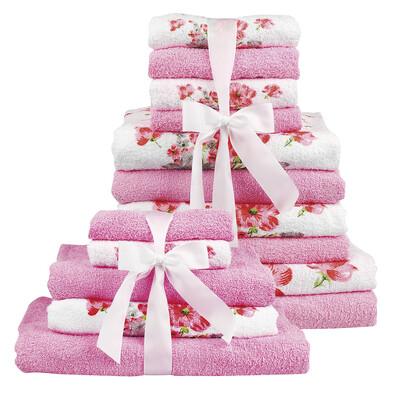Koupelnový set růžová, sada 15 ks