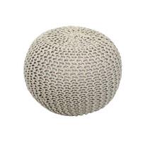 Pletený taburet Gobi 1, krémová