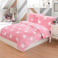 Stars mikroplüss ágyneműhuzat rózsaszín, 140 x 200 cm, 70 x 90 cm