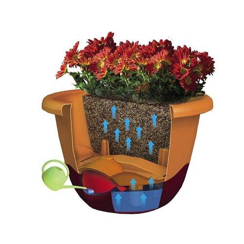 Plastia Samozavlažovací květináč Mareta hnědá, pr. 30 cm