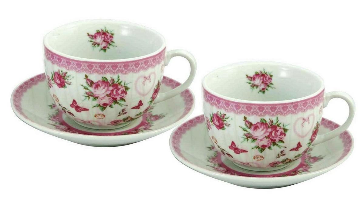 Darčeková sada šálky na kávu s podšálkou Ruže 250 ml, 2 ks