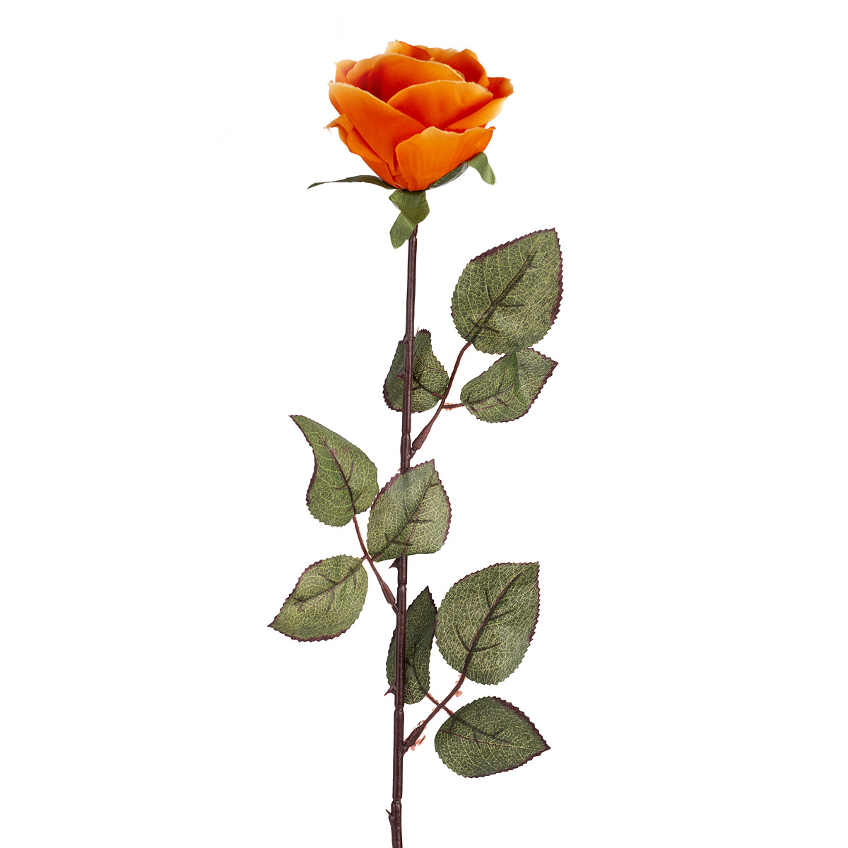 Umělá květina Růže velkokvětá 72 cm, oranžová