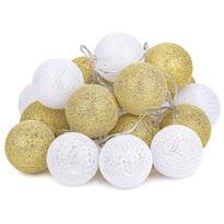 Svetelná reťaz Redondo bielo-zlatá, 20 LED, 3 m, teplá biela