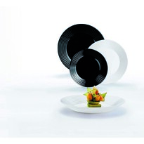 Serviciu de masă Luminarc HARENA, 18 piesealb-negru