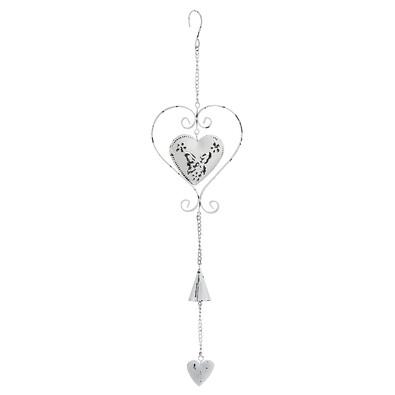 Závěsná kovová dekorace srdce, bílá